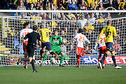 Oxford midfielder Liam Sercombe scores the opening goal during the Sky Bet League 2 match between Oxford United and Stevenage at the Kassam Stadium, Oxford, England on 25 March 2016. Photo by Alan Franklin.