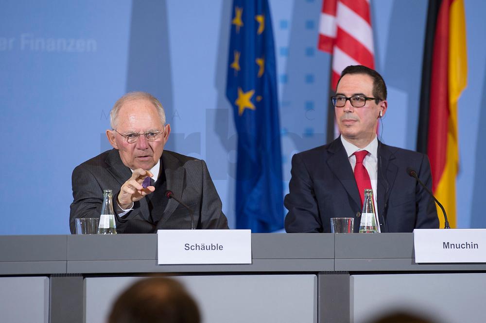 """16 MAR 2017, BERLIN/GERMANY:<br /> Wolfgang Schaeuble (L), CDU, Bundesfinanzminister, und Steven Terner """"Steve"""" Mnuchin (R), Fianzminister der Vereinigten Staaten von Amerika, USA, waehrend einer Pressekonferenz nach einem gemeinsamen Treffen, Bundesministerium der Finanzen<br /> IMAGE: 20170316-03-025<br /> KEYWORDS: Wolfgang Schäuble, Steve Mnuchin, Treasury secretary"""