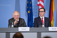 "16 MAR 2017, BERLIN/GERMANY:<br /> Wolfgang Schaeuble (L), CDU, Bundesfinanzminister, und Steven Terner ""Steve"" Mnuchin (R), Fianzminister der Vereinigten Staaten von Amerika, USA, waehrend einer Pressekonferenz nach einem gemeinsamen Treffen, Bundesministerium der Finanzen<br /> IMAGE: 20170316-03-025<br /> KEYWORDS: Wolfgang Schäuble, Steve Mnuchin, Treasury secretary"