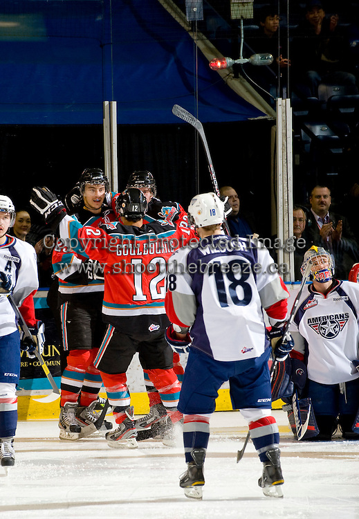 KELOWNA, CANADA, NOVEMBER 30: The Kelowna Rockets celebrate a goal as the Tri City Americans visit the Kelowna Rockets  on November 30, 2011 at Prospera Place in Kelowna, British Columbia, Canada (Photo by Marissa Baecker/Shoot the Breeze) *** Local Caption ***