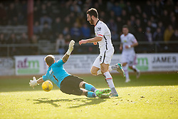 Inverness Caledonian Thistle's Ross Draper scoring goal past Dundee's keeper Scott Bain. <br /> Half time : Dundee 0 v 1 Inverness Caledonian Thistle, SPFL Ladbrokes Premiership game played at Dens Park, 27/2/2016.
