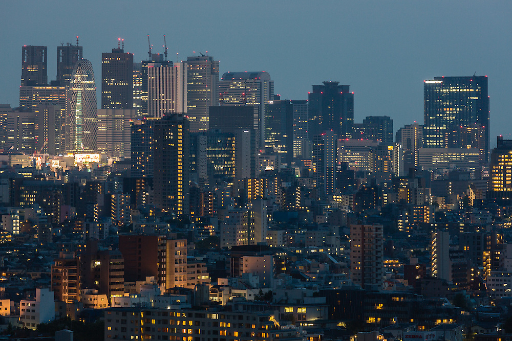 The Shijuku Skyline, with its characteristic skyscrapers, at night, seen from the Bunkyo Observation Deck