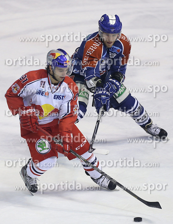 24.02.2013, Dom Sportova, Zagreb, CRO, EBEL, KHL Medvescak Zagreb vs EC Red Bull Salzburg, Playoff best of seven, 1. Runde, im Bild. Dominique Heinrich, Adam Naglich // during the Erste Bank Icehockey League playoff best of seven 1st round match between KHL Medvescak Zagreb and EC Red Bull Salzburg at the Dom Sportova, Zagreb, Croatia on 2013/02/24. EXPA Pictures © 2013, PhotoCredit: EXPA/ Pixsell/ Marko Lukunic..***** ATTENTION - for AUT, SLO, SUI, ITA, FRA only *****