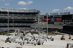 June 4, 2010; Bronx, NY; USA;  The ring at Yankee Stadium being set up the day before the Miguel Cotto vs Yuri Foreman fight.