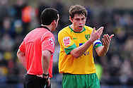 Brighton - Saturday 13th February, 2010: Grant Holt of Norwich City argues with the referee during the Coca Cola League One match at The Withdean, Brighton...(Pic by Alex Broadway/Focus Images)