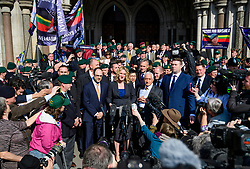 © Licensed to London News Pictures.28/03/2017.London, UK. CLAIRE BLACKMAN (C), wife of Sergeant Alexander Blackman, reads a statement to the media as she leaves the Royal Courts of Justice in London, where a judge reduced the sentence for Sgt Blackman's manslaughter charge, meaning he will be free within weeks..Photo credit: Ben Cawthra/LNP