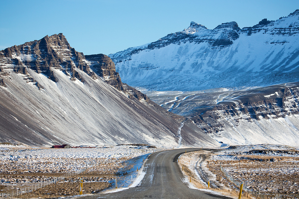 The windy road leading to Stokksnes in south-east Iceland