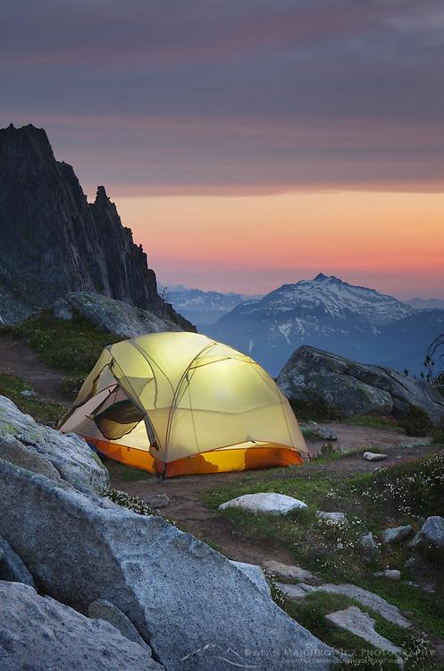 North Cascades backcountry camp on Hidden Lake Peak