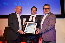 NEWPORT, WALES - Friday, May 18, 2018: Ian Hughes receives his UEFA Pro Licence Diploma from Lennie Lawrence (left) and Wales technical director Osian Roberts (right) during day one of the Football Association of Wales' National Coaches Conference 2018 at the Celtic Manor Resort. (Pic by David Rawcliffe/Propaganda)