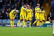 AFC Wimbledon attacker Marcus Forss (15) celebrating after scoring goal during the EFL Sky Bet League 1 match between Southend United and AFC Wimbledon at Roots Hall, Southend, England on 12 October 2019.