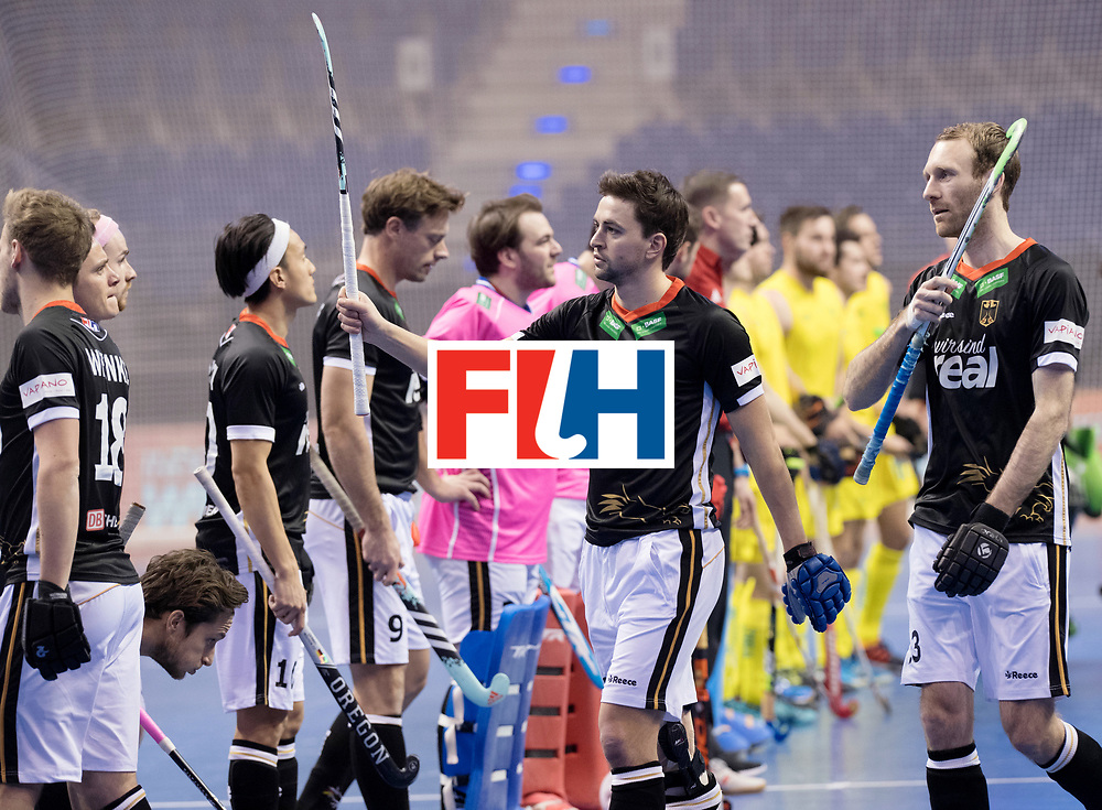 BERLIN - Indoor Hockey World Cup<br /> Men: Germany - Australia<br /> foto: Tobias Hauke.<br /> WORLDSPORTPICS COPYRIGHT FRANK UIJLENBROEK