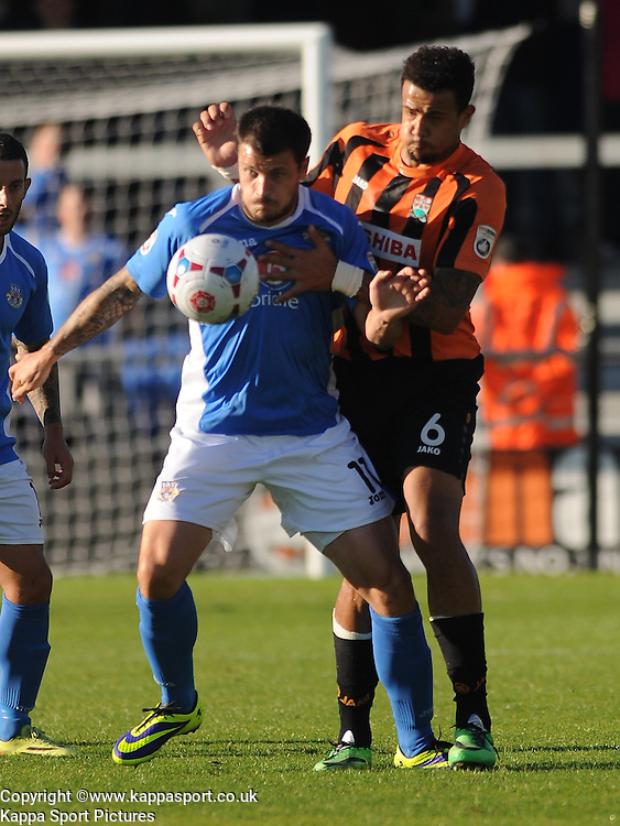 Eastleighs Craig McAllister attacks Barnets Defence, Barnet v Eastleigh, Vanarama Conference, Saturday 4th October 2014