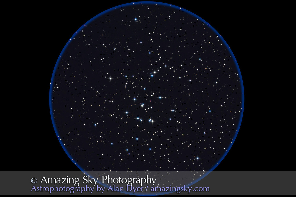 M44 the Beehive or Praesepe star cluster in Cancer. This is a stack of 4 x 4 minute exposures at ISO 800 with the Canon 7D on the TMB 92mm apo refractor with Borg 0.85x reducer/flattener for f/4.5. Taken on a slightly hazy night, April 22, 2011 using AP 600E mount and SG4 autoguider.