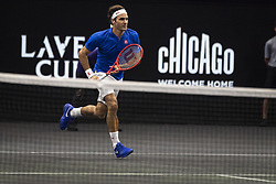 September 22, 2018 - Chicago, Illinois, U.S - Team Europe member ROGER FEDERER of Switzerland runs to the net during the second singles match between Team Europe and Team World on Day Two of the Laver Cup at the United Center in Chicago, Illinois. (Credit Image: © Shelley Lipton/ZUMA Wire)