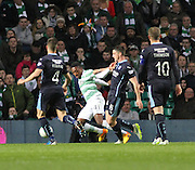 Dundee's Stephen McGinn brings down Celtic's Darnell Fisher to concede a penalty -  Celtic v Dundee - SPFL Premiership at Celtic Park<br /> <br /> <br />  - © David Young - www.davidyoungphoto.co.uk - email: davidyoungphoto@gmail.com