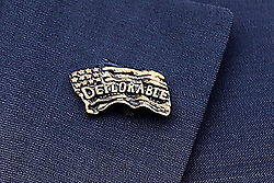 "WASHINGTON, DC - APRIL 02: (AFP OUT) Donald Trump Jr. wears a lapel pin that says ""Deplorable"" while attending the 140th annual Easter Egg Roll on the South Lawn of the White House April 2, 2018 in Washington, DC. The White House said they are expecting 30,000 children and adults to participate in the annual tradition of rolling colored eggs down the White House lawn that was started by President Rutherford B. Hayes in 1878. (Photo by Chip Somodevilla/Getty Images)"