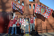 Family of Aston Villa fans outside Villa Park before k/o. The FA cup, 6th round match, Aston Villa v West Bromwich Albion at Villa Park in Birmingham, Midlands on Saturday 7th March 2015<br /> pic by John Patrick Fletcher, Andrew Orchard sports photography.