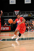 January 5, 2012: Myisha Goodwin-Coleman #1 of North Carolina State in action during the NCAA basketball game between the Miami Hurricanes and the North Carolina State Wolfpack at the BankUnited Center in Coral Gables, FL. The Hurricanes defeated the Wolfpack 78-68.