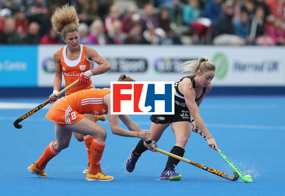 LONDON, ENGLAND - JUNE 18: Marloes Keetels of Netherlands and Anita McLaren of New Zealand during the FIH Women's Hockey Champions Trophy match between Netherlands and New Zealand at Queen Elizabeth Olympic Park on June 18, 2016 in London, England.  (Photo by Alex Morton/Getty Images)