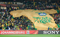 Fans of Brazil during the 2010 FIFA World Cup South Africa Group G match between Brazil and North Korea at Ellis Park Stadium on June 15, 2010 in Johannesburg, South Africa. Brazil defeated Korea 2-1. (Photo by Vid Ponikvar / Sportida)