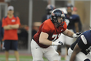 Ole Miss lineman Pierce Burton at Ole Miss football practice at the IPF in Oxford, Miss. on Wednesday, April 3, 2013.