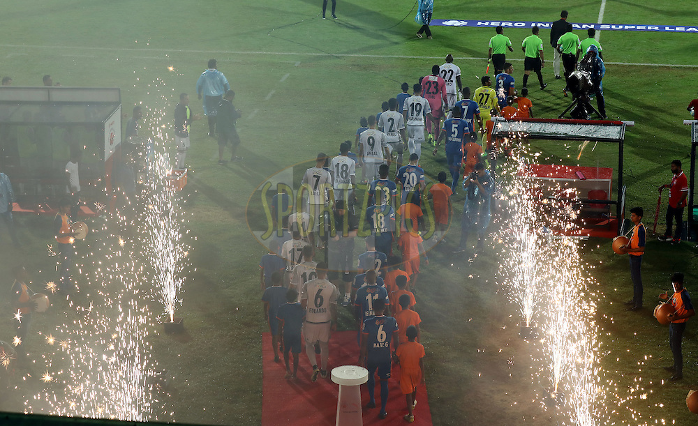 FC Pune City team and FC Goa team arrives for the match 8 of the Indian Super League (ISL) season 3 between FC Goa and FC Pune City held at the Fatorda Stadium in Goa, India on the 8th October 2016.<br /> <br /> Photo by Sandeep Shetty / ISL/ SPORTZPICS