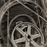 Rusted Wheels - Pottsville - Merlin, Oregon - Lensbaby - Sepia Black & White