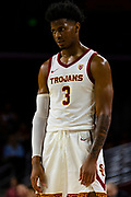 Southern California Trojans guard Elijah Weaver (3) during the first half of an NCAA basketball game against the South Dakota State Jackrabbits, Tuesday, Nov. 12, 2019, in Los Angeles. USC defeated South Dakota State 84-66. (Brandon Sloter/Image of Sport)