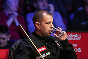 Barry Hawkins sips his water during the Ladbrokes World Grand Prix at Preston Guildhall, Preston, United Kingdom on 12 February 2017. Photo by Pete Burns.
