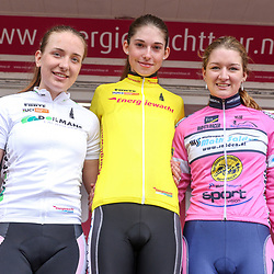 09-04-2016: Wielrennen: Energiewachttour vrouwen: Zuidhorn<br /> GC podium 1th Christa Riffel (Germany), 2nd Anne de Ruiter (NED), 3th Karlijn Swinkels (NED)