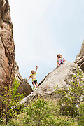 Kids having fun at the City of Rocks National Preserve, Castle Rock. Idaho.