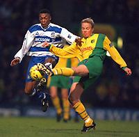 Fotball<br /> Foto: Action Images/Digitalsport<br /> NORWAY ONLY<br /> <br /> Football - Norwich City v Queens Park Rangers , Nationwide Division 1  26/12/99<br /> <br /> QPR's Chris Kiwomya in action v Erik Fuglestad - Norwich