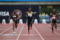 Carmelita Jeter competes in the 100m dash during day 1 of the U.S. Olympic Trials for Track & Field at Hayward Field in Eugene, Oregon, USA 22 Jun 2012..(Jed Jacobsohn/for The New York Times)...