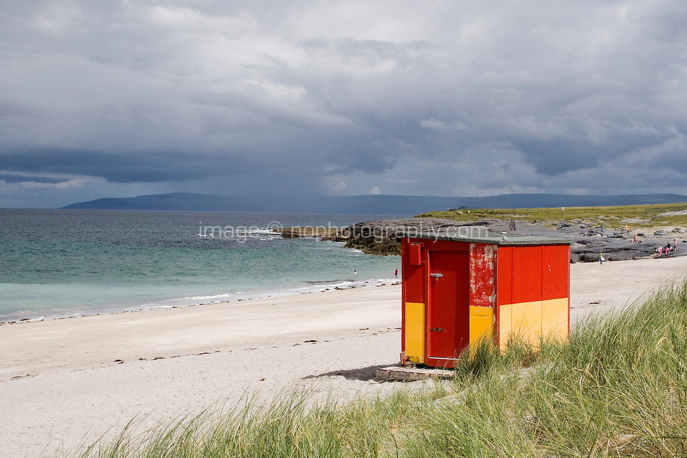 lifeguard hut on the beach at Inis Oirr the Aran Islands in Galway Ireland