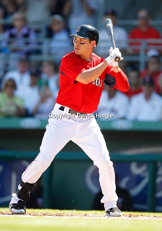 February 28, 2011; Fort Myers, FL, USA; Boston Red Sox left fielder Jacoby Ellsbury (2) during a spring training exhibition game against the Minnesota Twins at City of Palms Park.  Mandatory Credit: Derick E. Hingle