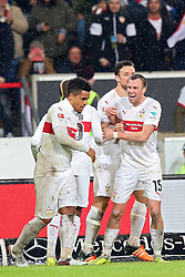 30.12.2015, Mercedes Benz Arena, Stuttgart, GER, 1. FBL, VfB Stuttgart vs Hamburger SV, 19. Runde, im Bild Daniel Didavi (VfB Stuttgart) Neuzugang Kevin Grosskreuz (VfB Stuttgart) jubel nach dem 1:0 // during the German Bundesliga 19th round match between VfB Stuttgart and Hamburger SV at the Mercedes Benz Arena in Stuttgart, Germany on 2015/12/30. EXPA Pictures © 2016, PhotoCredit: EXPA/ Eibner-Pressefoto/ Langer<br /> <br /> *****ATTENTION - OUT of GER*****
