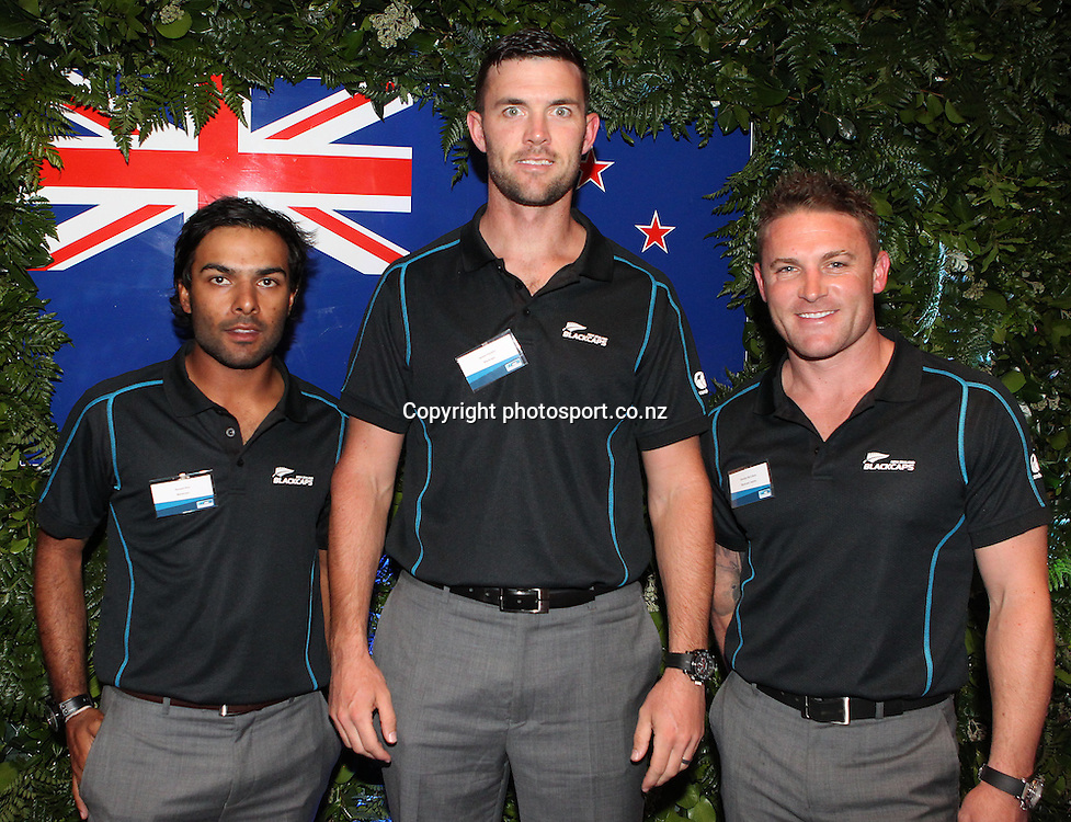 Black Caps from left Roneel Hira, James Franklin and Brendon McCullum at the ANZ International Cricket Series Launch at Bellini, Hilton Hotel Auckland, 7 February 2013