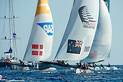 Team SAP, Emirates Team New Zealand and Oman Air. Day two of the Extreme Sailing Series at Nice. 3/10/2014