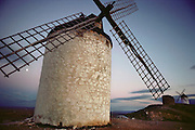 A whitewashed windmill in Consuegra, La Mancha Spain.