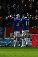 Picture by David Horn/Focus Images Ltd +44 7545 970036<br /> 25/01/2014<br /> Steven Naismith of Everton celebrates scoring his second goal of the game with Kevin Mirallas of Everton during the The FA Cup match at the Lamex Stadium, Stevenage.
