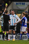 Shrewsbury Town FC midfielder Liam Lawrence is shown a yellow card during the Sky Bet League 1 match between Chesterfield and Shrewsbury Town at the Proact stadium, Chesterfield, England on 2 January 2016. Photo by Aaron Lupton.