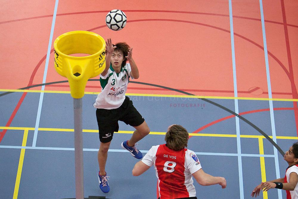 Nic/alfa-college - Top/Wereldtickets Korfbal. vlnr: Ricky Wu , Patrice de Vos, Nisha Verwey. foto: Pepijn van den Broeke. Kilometers: 18