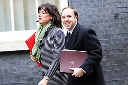 "© Licensed to London News Pictures. 18/12/2018. London, UK. Claire Perry - Minister of State at Department for Business Energy and Industrial Strategy and Matthew Hancock - Secretary of State for Health and Social care arrives in Downing Street for the weekly Cabinet meeting. The Cabinet will discuss the preparations for a ""No Deal"" Brexit. Photo credit: Dinendra Haria/LNP"