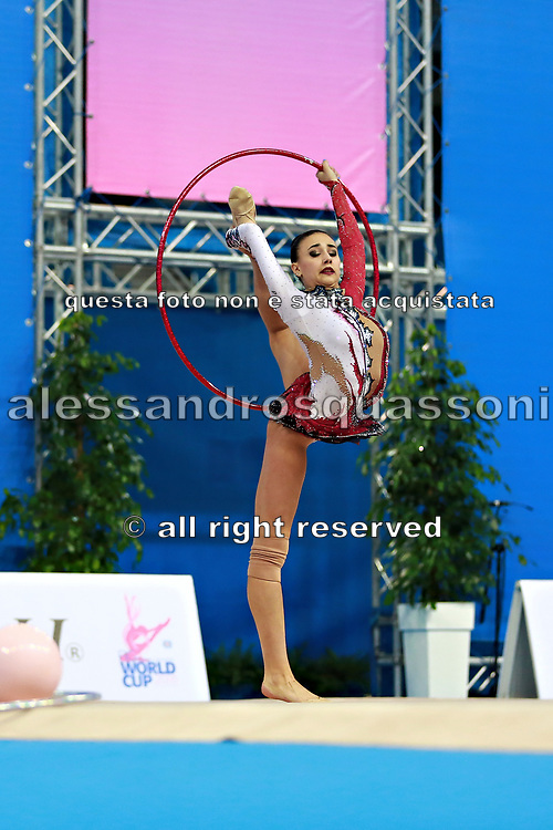 Russo Alessia during qualifying hoop at the Pesaro World Cup April 1, 2016. Alessia is an Italian individual rhythmic gymnast, she was born in September 24 1996 Figline Valdarno, Italy.