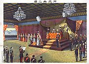 Crown Prince Yoshihito and Princess Sadako at their wedding reception standing on the bottom step of the dais. The Meiji Emperor and the Empress sit behind table. After Torajiro Kasai, Japanese artist. Formality Ceremony Tradition