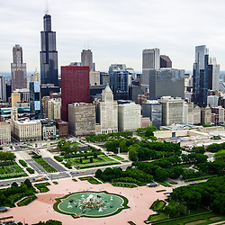 Chicago Aerial View. Aerial photo of the downtown Chicago skyline including Willis Tower (Sears Tower), Buckingham Fountain, Grant Park, and buildings along Michigan Avenue. Picture is high resolution and was taken in 2013.