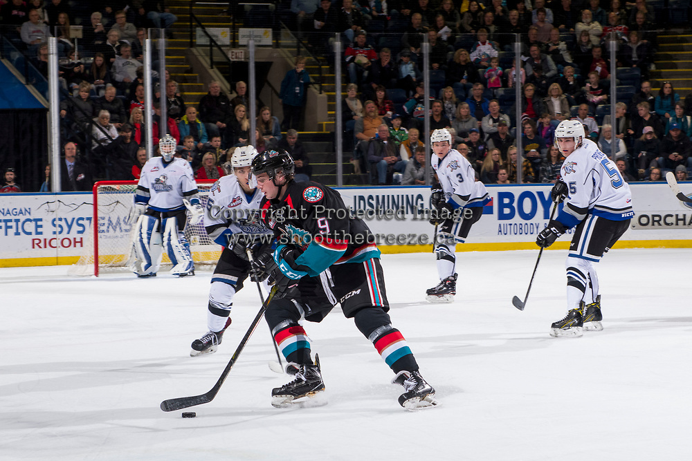 KELOWNA, CANADA - OCTOBER 5:  Mark Liwiski #9 of the Kelowna Rockets skates with the puck against the Victoria Royals on October 5, 2018 at Prospera Place in Kelowna, British Columbia, Canada.  (Photo by Marissa Baecker/Shoot the Breeze)  *** Local Caption ***