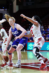 NORMAL, IL - January 06: Becca Hittner backs into the lane guarded by Viria Livingston during a college women's basketball game between the ISU Redbirds and the Drake Bulldogs on January 06 2019 at Redbird Arena in Normal, IL. (Photo by Alan Look)