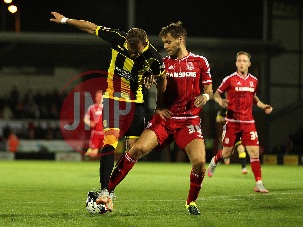Jonathan Woodgate of Middlesbrough tackles Aurelien Joachim of Burton Albion - Mandatory byline: Robbie Stephenson/JMP - 07966386802 - 25/08/2015 - FOOTBALL - Pirelli Stadium -Burton,England - Burton Albion v Middlesbrough - Capital One Cup - Second Round