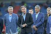 IAAF president Sebastian Coe (GBR), center speaks flanked by Ostrava mayor (left) and Jan Zelezny (CZE) during the 57th Ostrava Golden Spike track and field meeting in a IAAF World Challenge event at Mestsky Stadium in Ostrava, Czech Republic, Wednesday, June 13, 2018. (Jiro Mochizuki/Image of Sport)